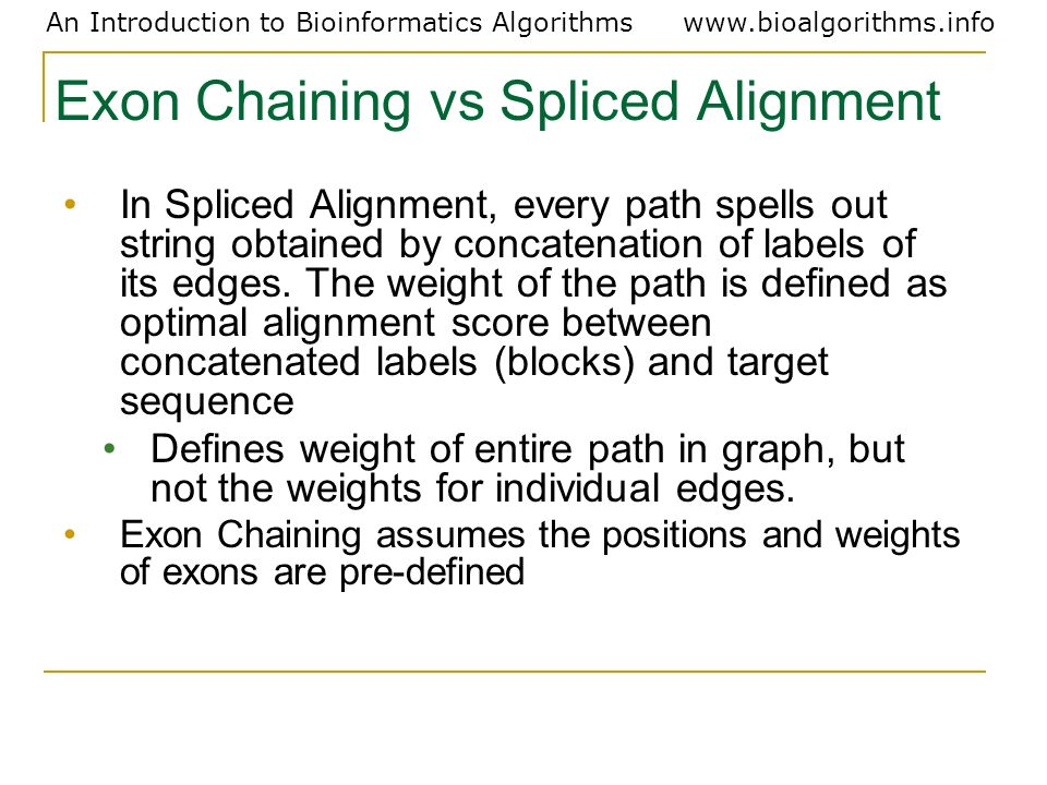 Exon Chaining vs Spliced Alignment