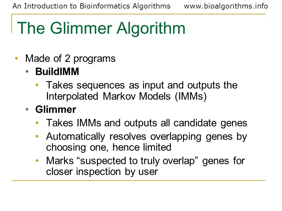 The Glimmer Algorithm Made of 2 programs BuildIMM