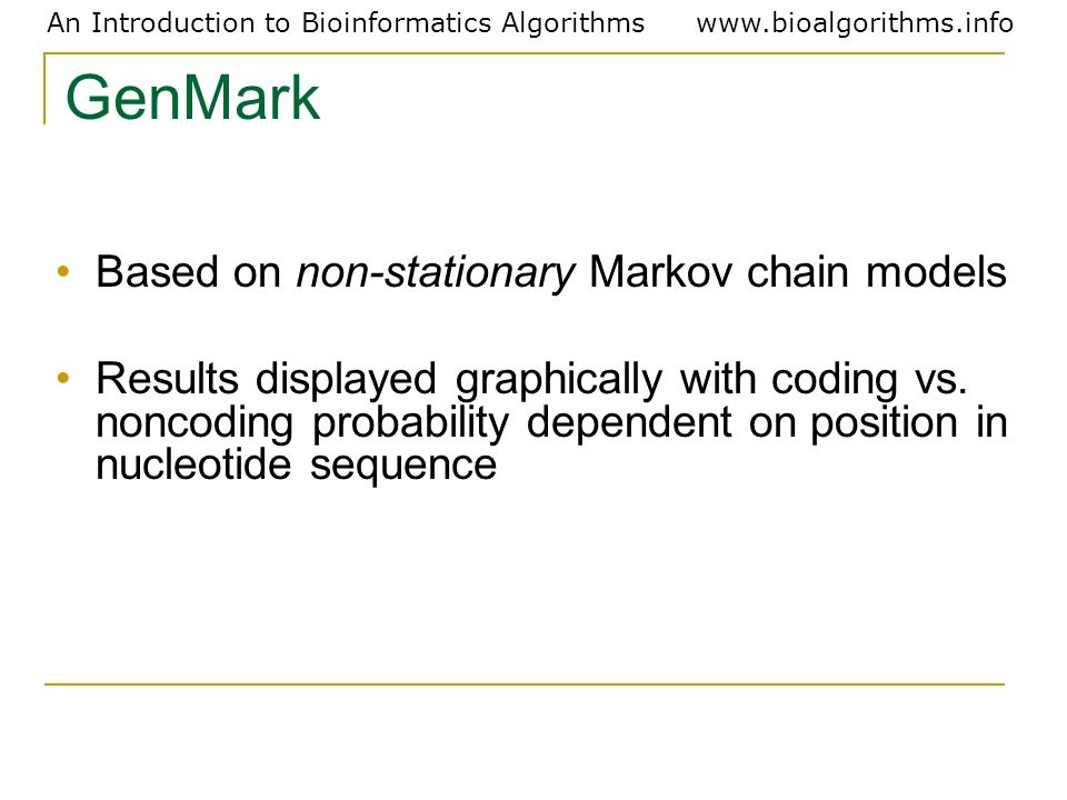 GenMark Based on non-stationary Markov chain models