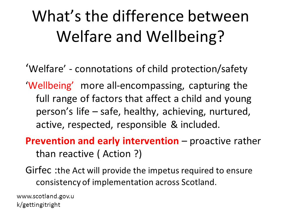What's the difference between Welfare and Wellbeing