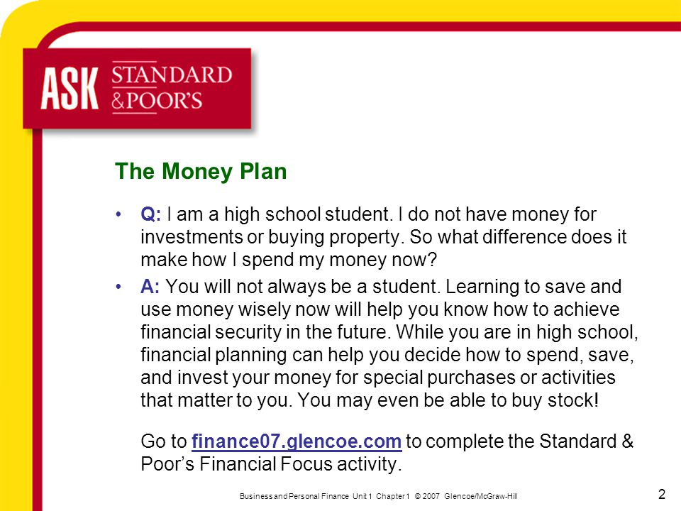 Section 1 Financial Decisions And Goals