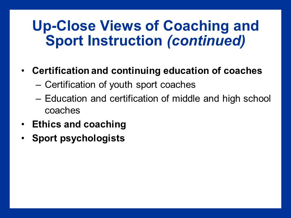 Chapter 16 Careers In Coaching And Sport Instruction Ppt Download