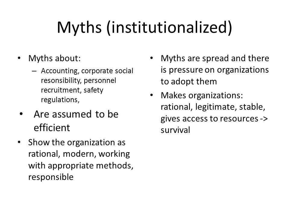 Myths (institutionalized)