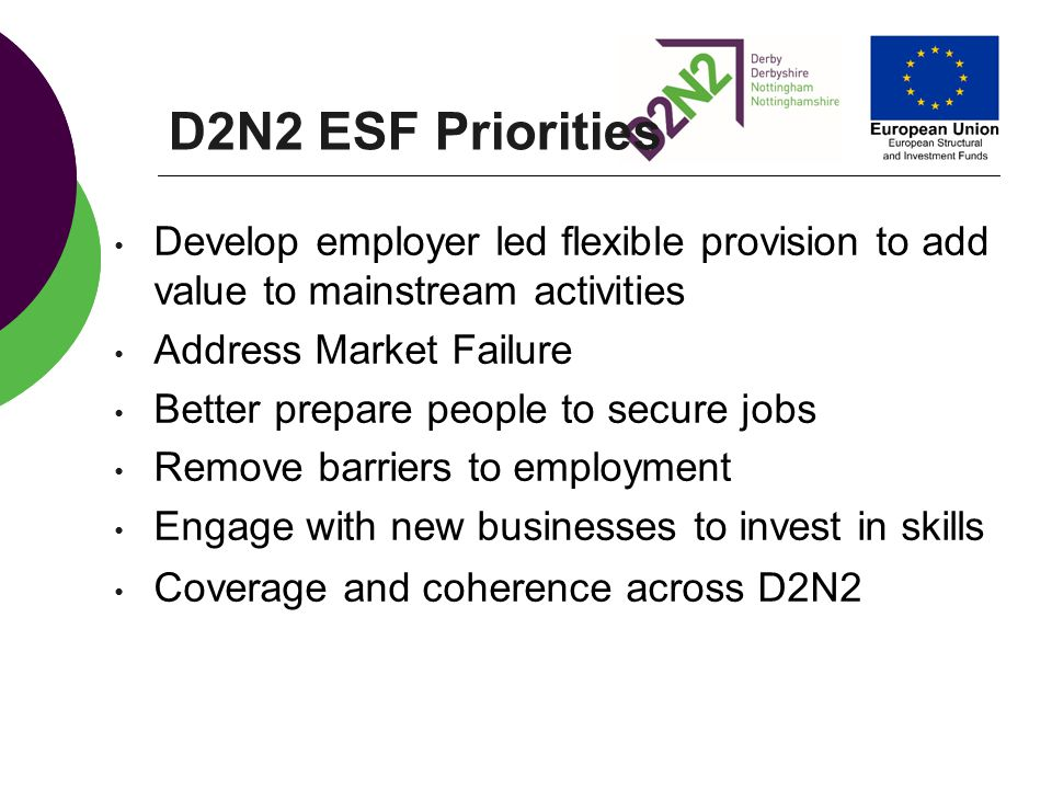 D2N2 ESF Priorities Develop employer led flexible provision to add value to mainstream activities. Address Market Failure.