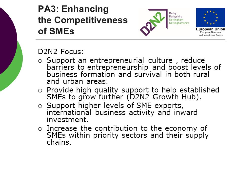 PA3: Enhancing the Competitiveness of SMEs