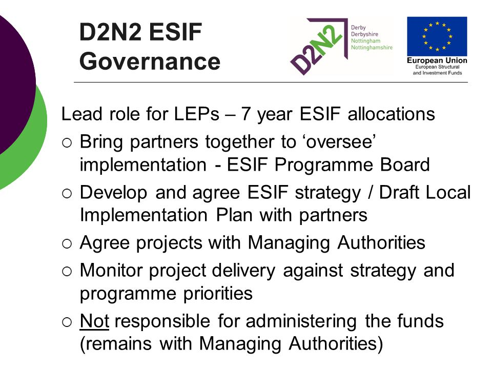 D2N2 ESIF Governance Lead role for LEPs – 7 year ESIF allocations