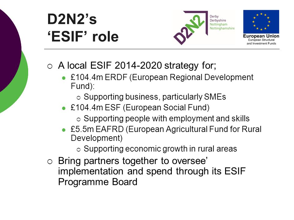 D2N2's 'ESIF' role A local ESIF strategy for;