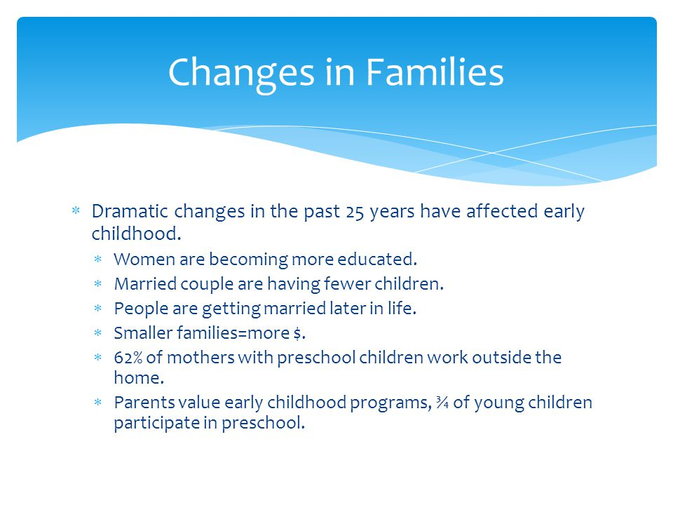 Changes in Families Dramatic changes in the past 25 years have affected early childhood. Women are becoming more educated.