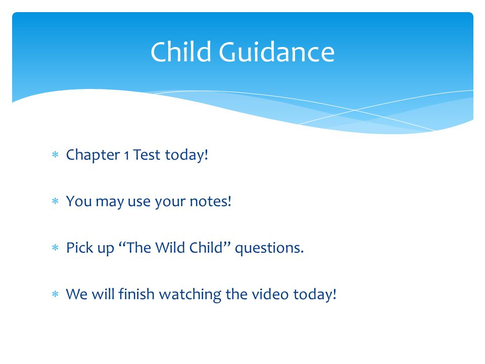 Child Guidance Chapter 1 Test today! You may use your notes!