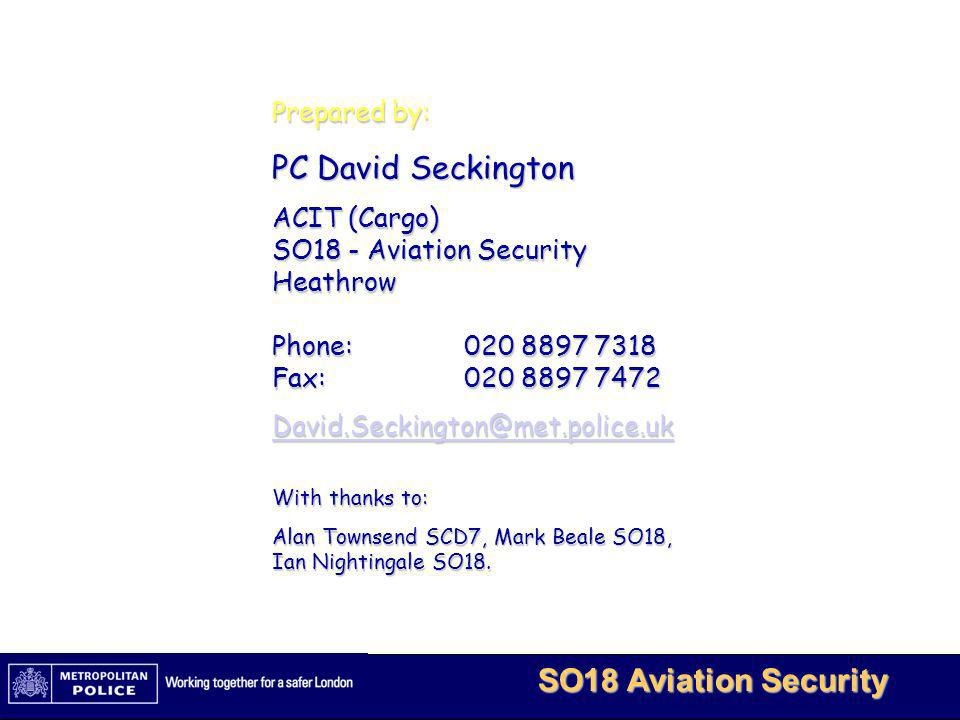 PC David Seckington Prepared by: