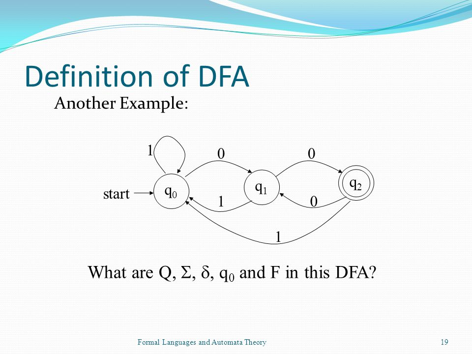 Definition of DFA What are Q, , , q0 and F in this DFA