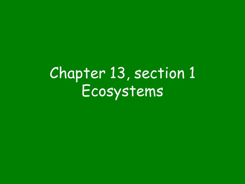 Chapter 13, section 1 Ecosystems