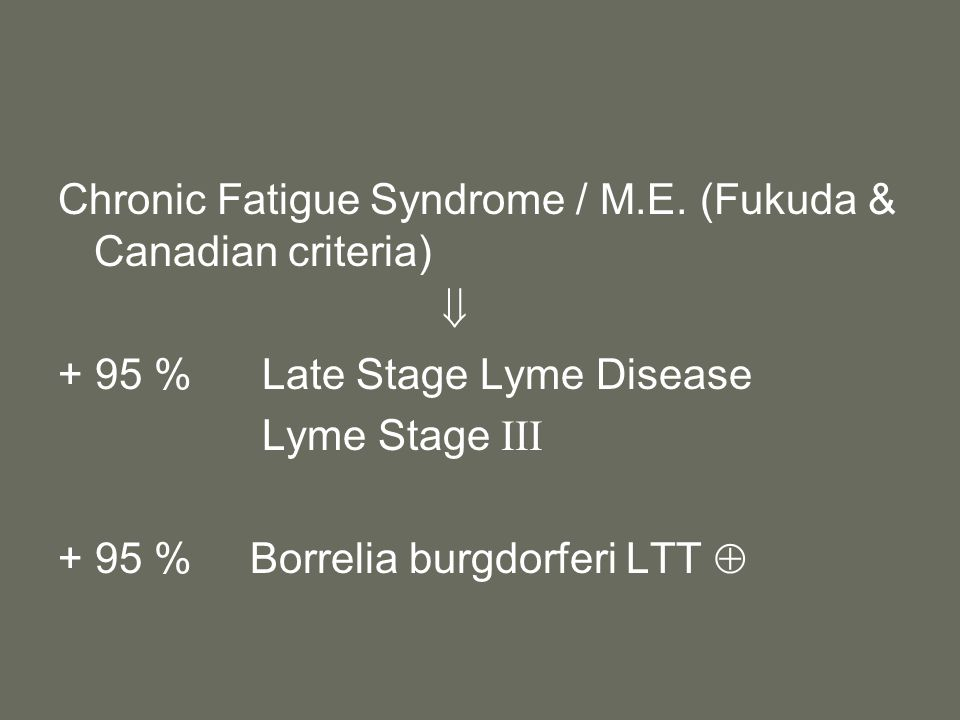 Chronic Fatigue Syndrome / M.E. (Fukuda & Canadian criteria)