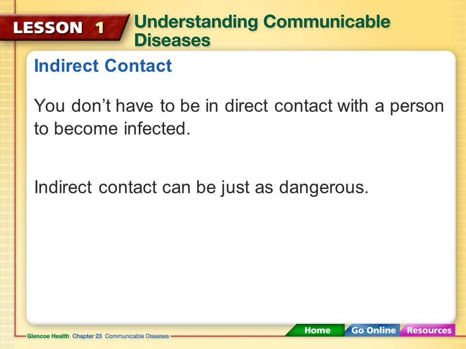 Indirect Contact You don't have to be in direct contact with a person to become infected.