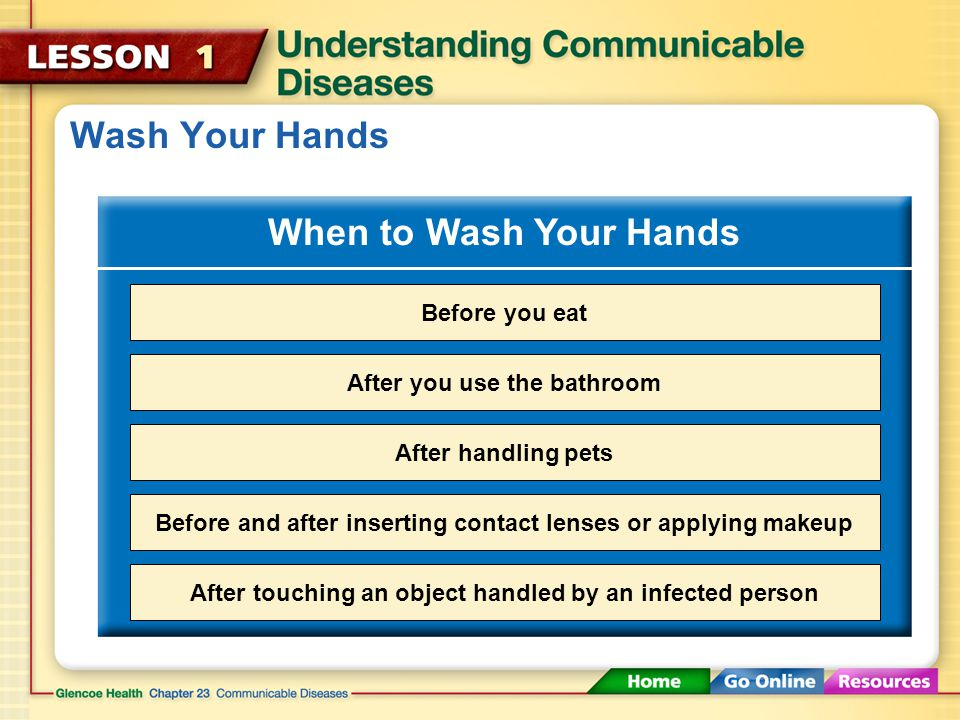 Wash Your Hands When to Wash Your Hands Before you eat
