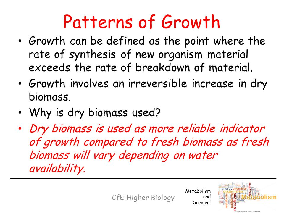 Patterns of Growth Growth can be defined as the point where the rate of synthesis of new organism material exceeds the rate of breakdown of material.