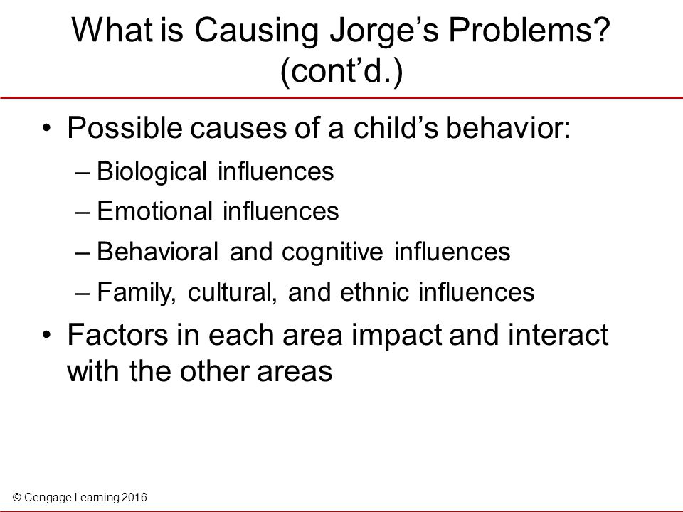 What is Causing Jorge's Problems (cont'd.)