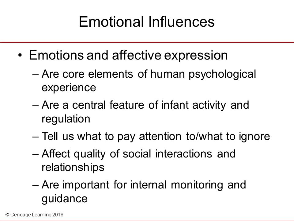 Emotional Influences Emotions and affective expression