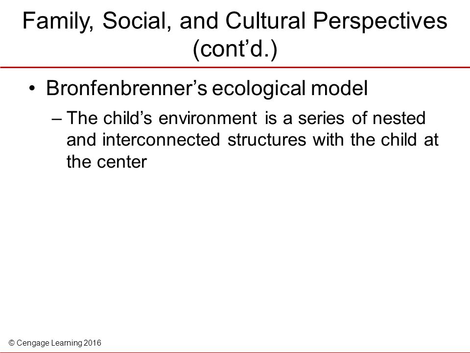 Family, Social, and Cultural Perspectives (cont'd.)