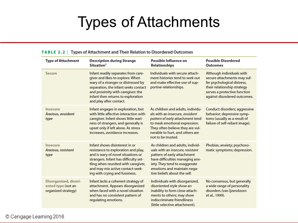 Types of Attachments Table 2.2 Types of attachment and their relation to disordered outcomes.