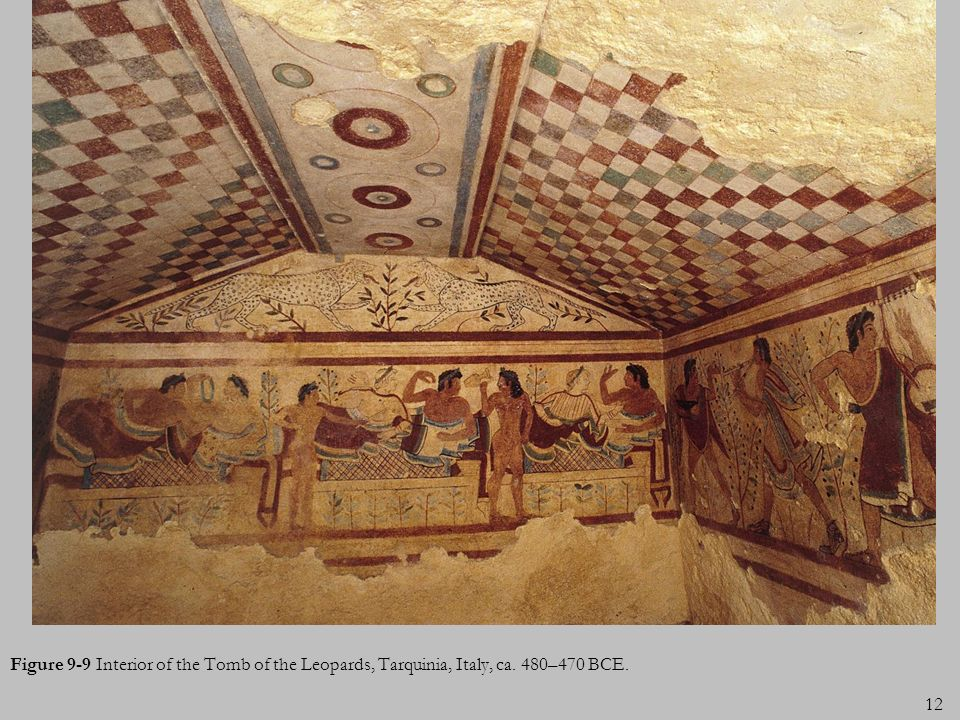 Figure 9-9 Interior of the Tomb of the Leopards, Tarquinia, Italy, ca