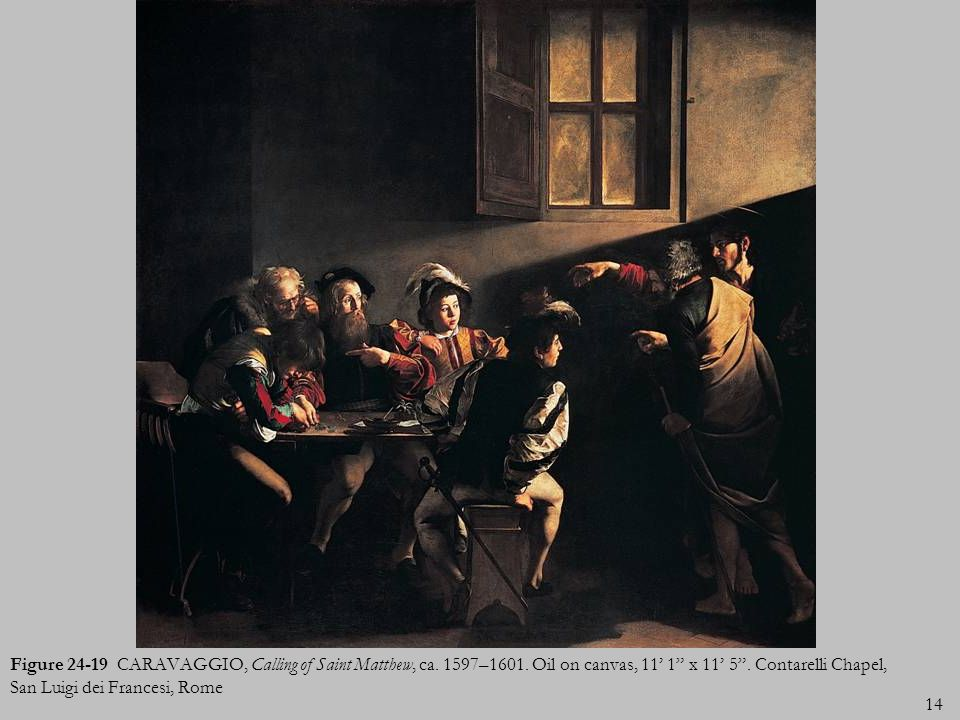 Figure 24-19 CARAVAGGIO, Calling of Saint Matthew, ca. 1597–1601