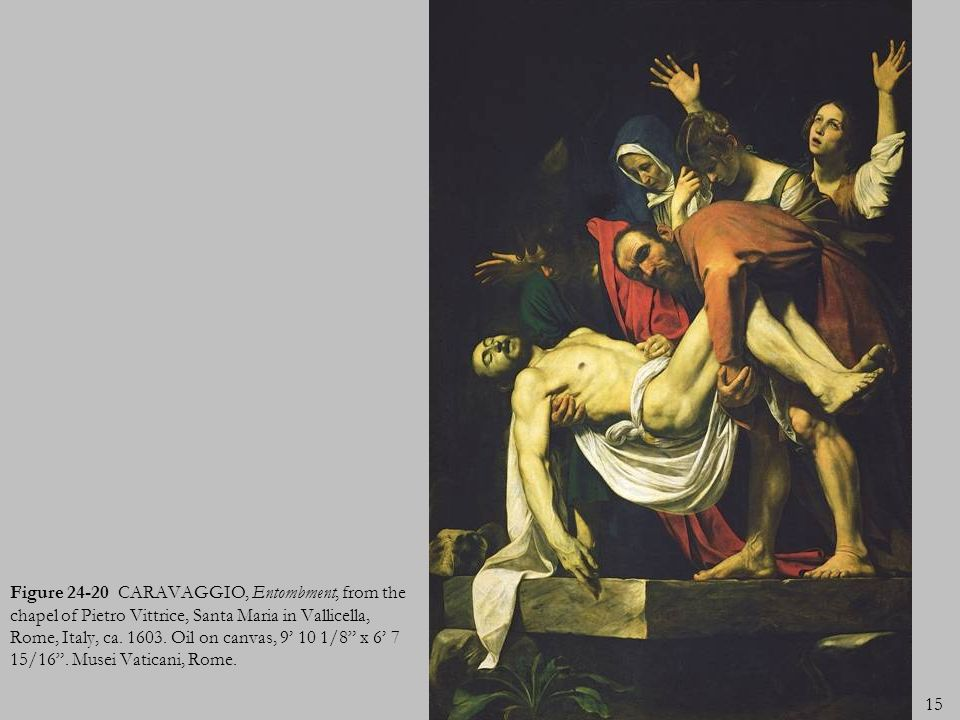 Figure 24-20 CARAVAGGIO, Entombment, from the chapel of Pietro Vittrice, Santa Maria in Vallicella, Rome, Italy, ca.