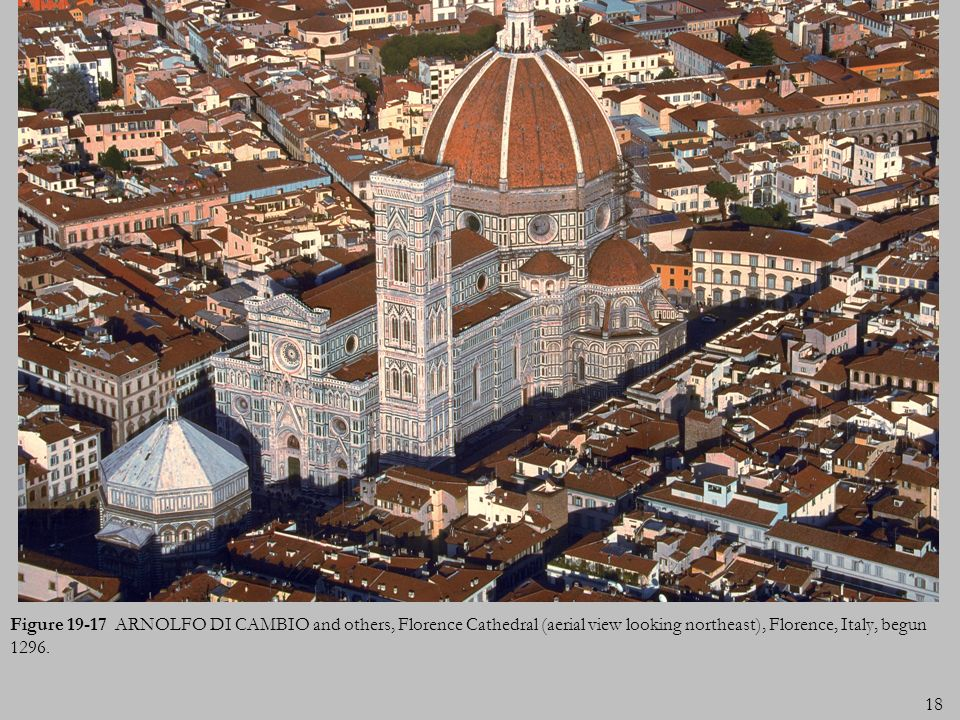 Figure 19-17 ARNOLFO DI CAMBIO and others, Florence Cathedral (aerial view looking northeast), Florence, Italy, begun 1296.