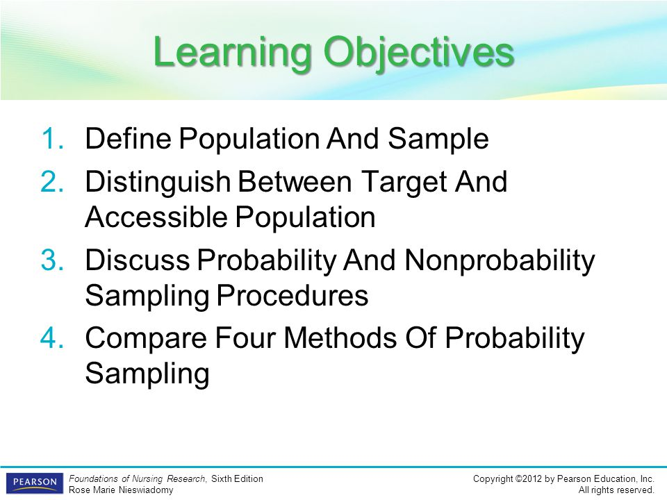 Learning Objectives Define Population And Sample