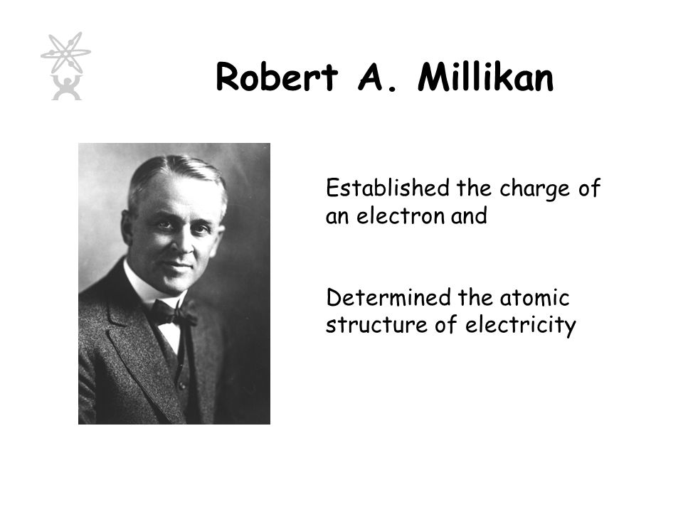 Robert A. Millikan Established the charge of an electron and