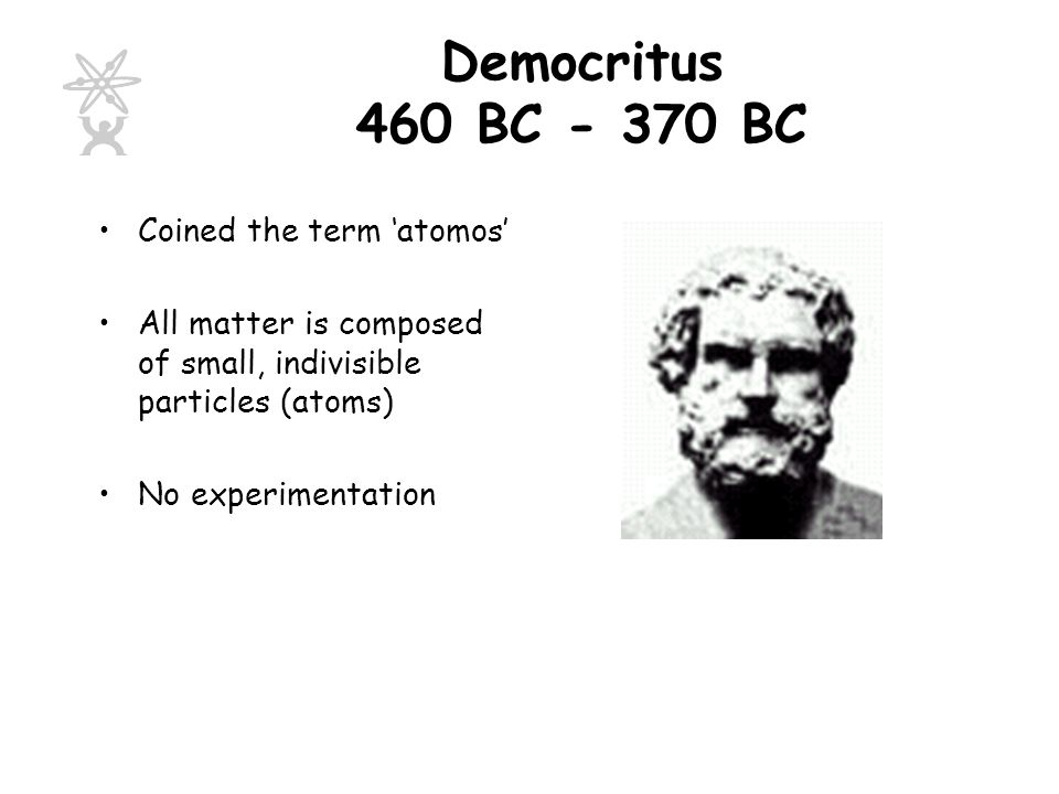 Democritus 460 BC - 370 BC Coined the term 'atomos'