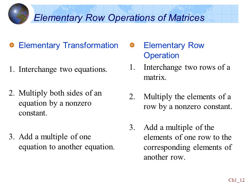 Elementary Row Operations of Matrices