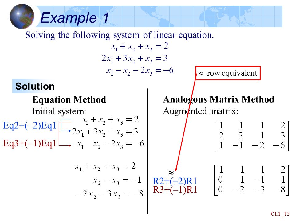 Example 1 Solving the following system of linear equation. Solution