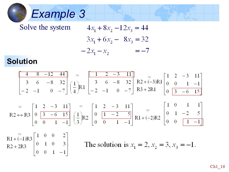 Example 3 Solve the system Solution