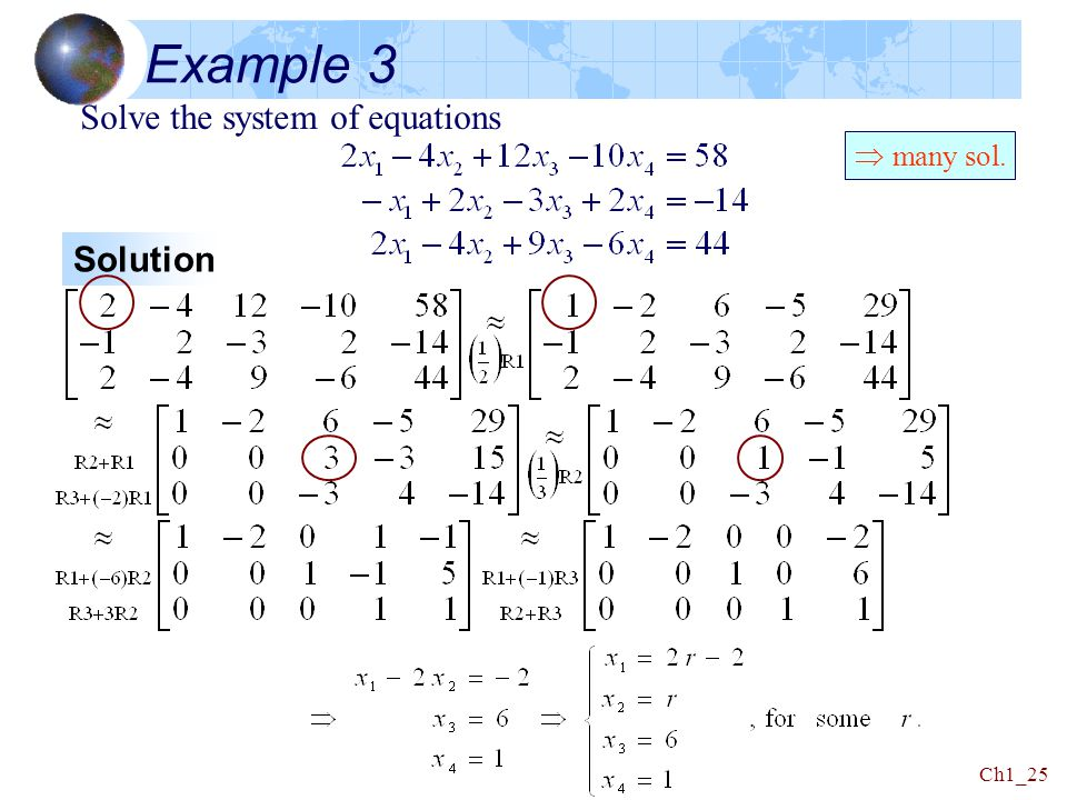 Example 3 Solve the system of equations  many sol. Solution