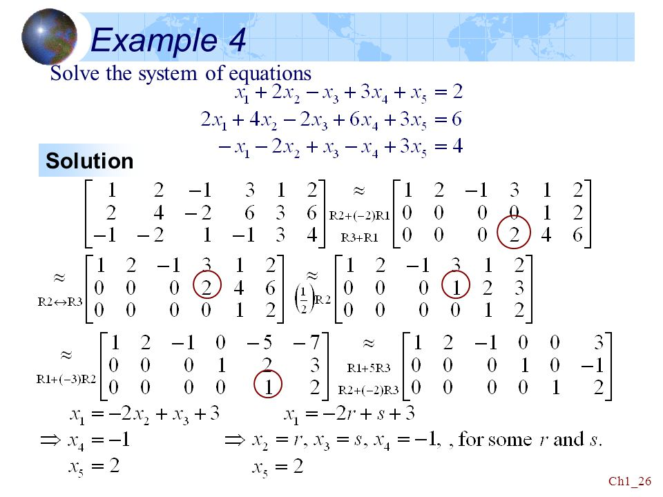 Example 4 Solve the system of equations Solution
