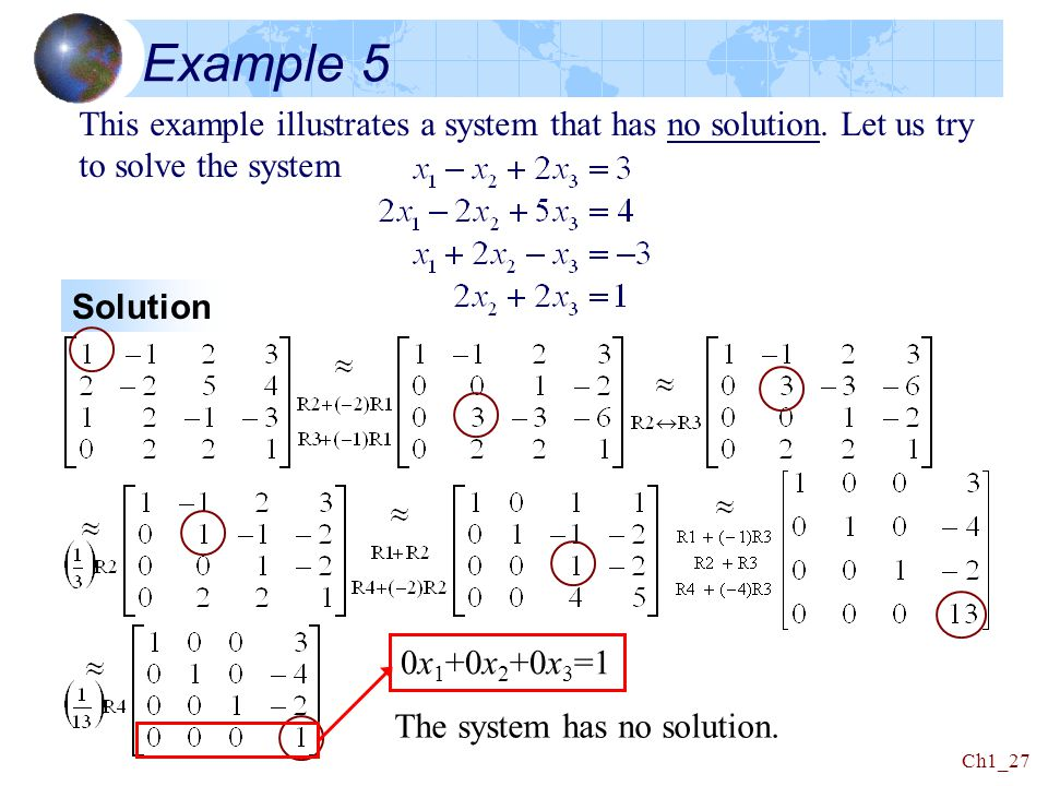 Example 5 This example illustrates a system that has no solution. Let us try to solve the system. Solution.