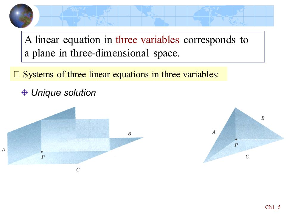 A linear equation in three variables corresponds to a plane in three-dimensional space.