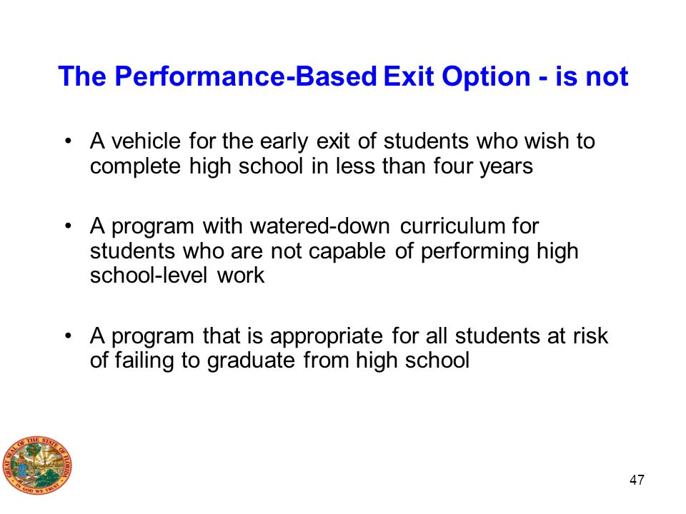 The Performance-Based Exit Option - is not
