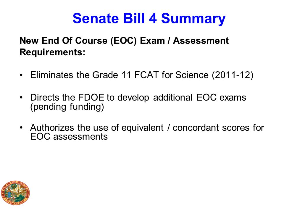 Senate Bill 4 Summary New End Of Course (EOC) Exam / Assessment