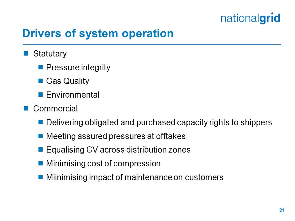 Drivers of system operation