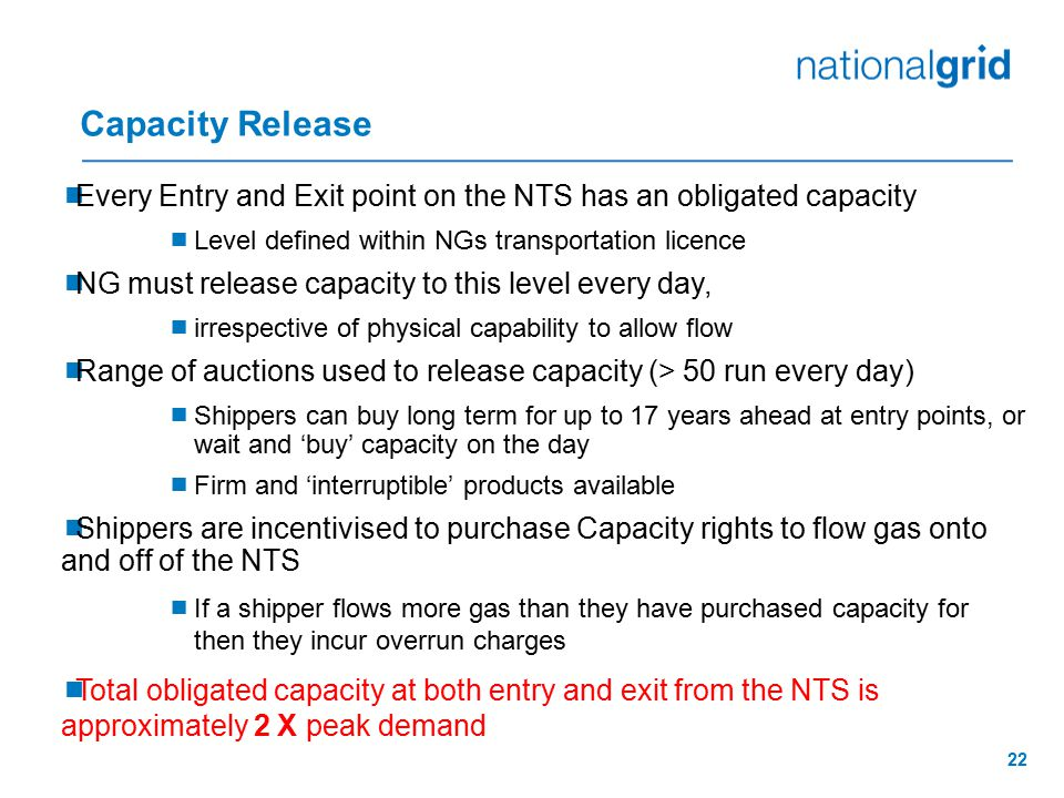 Capacity Release Every Entry and Exit point on the NTS has an obligated capacity. Level defined within NGs transportation licence.