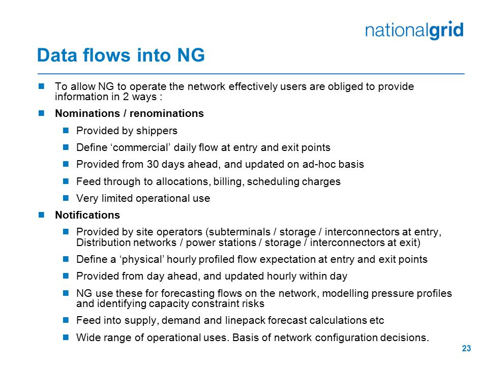 Data flows into NG To allow NG to operate the network effectively users are obliged to provide information in 2 ways :