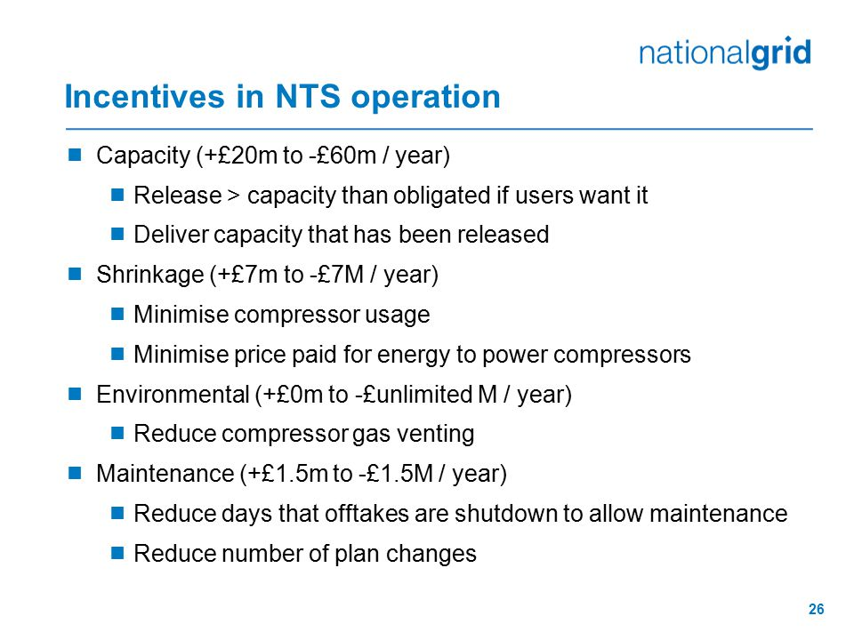 Incentives in NTS operation