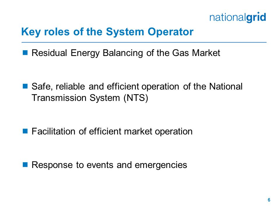 Key roles of the System Operator