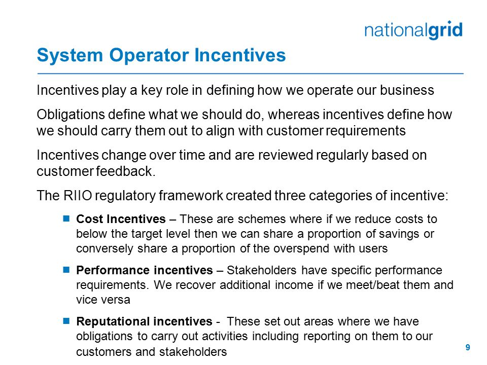 System Operator Incentives
