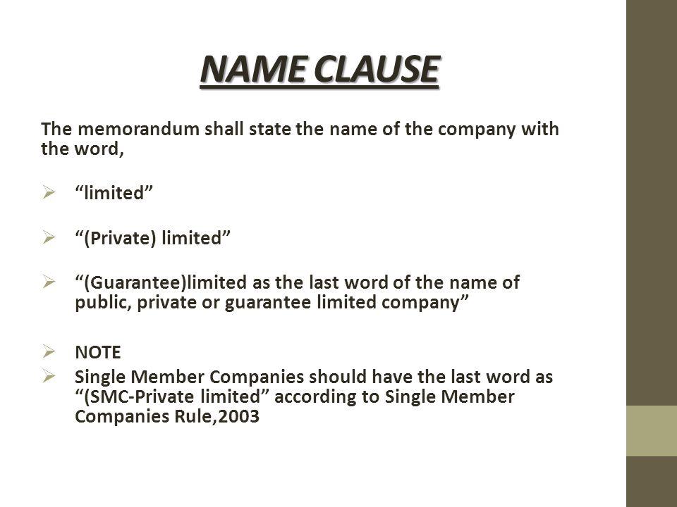 liability clause in memorandum of association