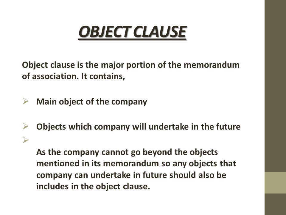 memorandum of association and its clauses