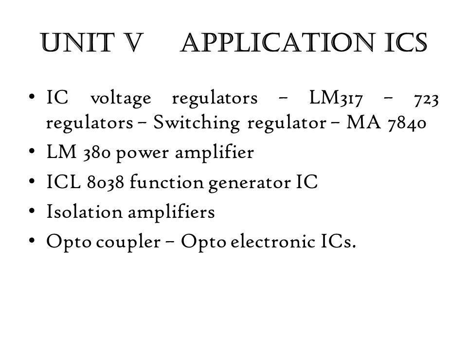 LINEAR INTEGRATED CIRCUITS AND APPLICATIONS (EC1260 ) - ppt