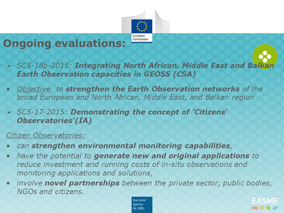 Ongoing evaluations: SC5-18b-2015: Integrating North African, Middle East and Balkan Earth Observation capacities in GEOSS (CSA)